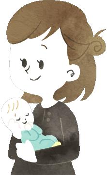子供を抱く女性のイラスト