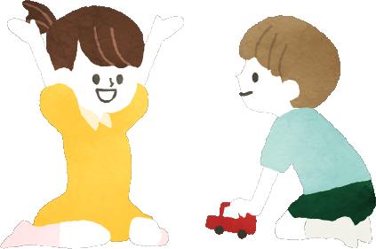 遊んでいる子供2人のイラスト