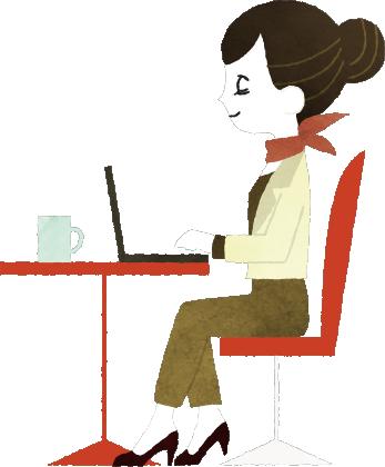 デスクでパソコンを開く女性のイラスト